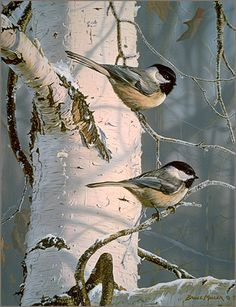 Black-capped chickadees - painting by Bruce Miller