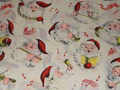 VTG CHRISTMAS WRAPPING PAPER UNUSED GIFT WRAP MCM SANTA MUSIC BELLS VIOLIN HORN