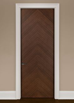 Modern Interior Custom Door Single Solid Core Modern Flush Interior Walnut  Wood Veneer Door In A Herringbone Pattern That Is Pre Hung And Prefinished  In A ...