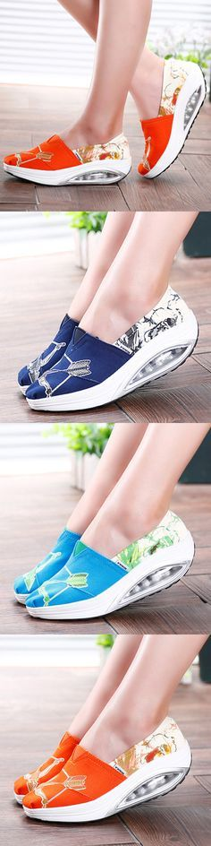 US$19.63  Pattern Color Blocking Canvas Platform Rocker Sole Shake Shoes