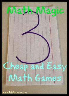 Cheap and easy maths games for young children