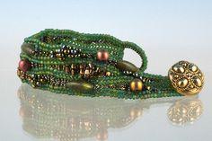 """herringbone stitch beading   Ambrosian Beads: """"Riverbed"""" Herringbone Bracelet"""