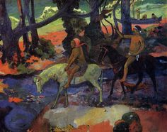 Riders - Paul Gauguin. 1901. Pushkin Museum, Moscow. the character on the white horse is a tapapau, a Polynesian demon accompanying the young man on the black horse to the next world. Gauguin, who was by now aware of the closeness of death was painting his own legacy, incorporating this combination of color and improvisational design that anticipates abstract art.