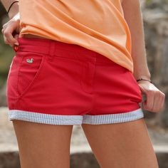 The Brighton Chino Shorts by Southern Marsh are the perfect pair of everyday comfortable on the go shorts! These shorts have an extra little southern style twist with a seersucker accent on the hemline but can also be rolled down for a more traditional women's short look. Either way, you'll wish you had more pairs!