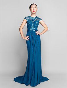 Sheath/Column Jewel Sweep/Brush Train Chiffon And Sequined Evening Dress (944181) - AUD $ 145.18