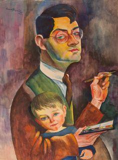 Conrad Felixmüller - Self portrait with son - 1926