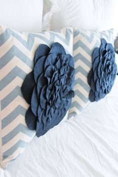 Blue Robin Cottage: Chevron Pillow also at link cute striped nautical pillow with navy bow - must make