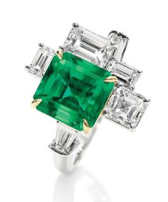 "Harry Winston Diamond And Emerald ""Central Park"" Ring"