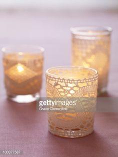 ストックフォト : Lace-wrapped Votive Candle Holders