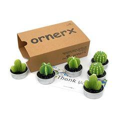 Ornerx Decorative Cactus Candles Tea Light Candles 6 Pcs ...