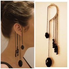 Black Bead Ear Cuff Ear Chain Punk Rock by BLACKTHORNJEWELLERY, £6.99