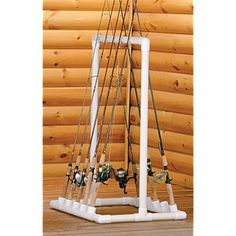 Project Ideas & PVC Pipe Projects PVC Fishing Rod HolderAn easy way to keep fishing and fly rods handy and neat. - PVC Fishing Rod HolderAn easy way to keep fishing and fly rods handy and neat. Fishing Pole Storage, Fishing Pole Holder, Pole Holders, Fishing Poles, Fishing Box, Surf Fishing, Bass Fishing, Pvc Pipe Crafts, Pvc Pipe Projects