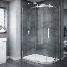 Nova Frameless 800 x Offset Quadrant Enclosure - Left or Right option Corner Shower Enclosures, Quadrant Shower Enclosures, Frameless Shower Enclosures, Glass Corner Shower, Glass Shower, Cheap Bathroom Remodel, Shower Remodel, Downstairs Bathroom, Bathroom Layout