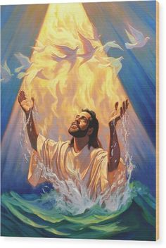 The Baptism Of Jesus Wood Print by Jeff Haynie