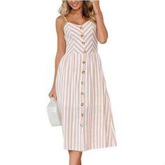 4b670fb001d Women Dress 2018 Vintage Sexy Bohemian Floral Tunic Beach Dress Sundress  Pocket Red White Dress Striped Female Brand Plus Size