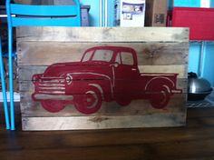 Old Truck Pallet Sign, Reclaimed Wood Pallet Crates, Old Pallets, Recycled Pallets, Pallet Art, Pallet Beds, Barn Wood Signs, Pallet Signs, Diorama, Truck Nursery