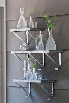 Galvanized Metal Wall Shelf w/ Hooks