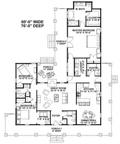 First Floor Plan of Country House Plan 64535