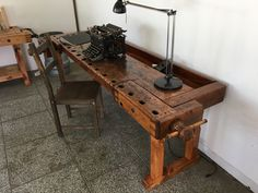 Schreibtisch 'Office' aus alter Hobelbank – – S. Loftart Completely restored and freed from woodworm workbench / workbench Woodworking Furniture, Wood Furniture, Old Benches, Workbench Designs, Kallax Regal, Brick And Wood, Wood Bars, Kitchen Flooring, Drafting Desk
