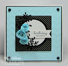 handcrafted birthday card  fromPaper Crafty's Creations ... light blue with black and white ... luv how the card pops with the black matting, enamel dots, polka dot paper and die cut leaves ... gorgeous contrast to the blue and white ... awesome card!!