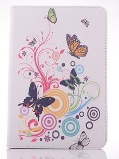 ipad mini pu leather case Butterfly and Flowers PU Leather Case Cover with Stand and Card Slot for iPad Mini 1 2