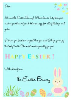 Personalizd easter bunny letter easter bunny letters for Letter to easter bunny template