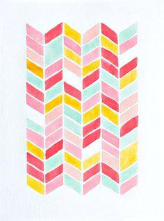 original chevron watercolor painting  -  geometric pattern -  nursery artwork - pink, yellow, mint, turquoise, coral