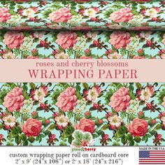 Hey, I found this really awesome Etsy listing at https://www.etsy.com/listing/221370249/roses-and-cherry-blossoms-wrapping-paper