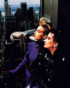 Models wearing Thierry Mugler, photographed on the Chrysler Building, 1988.
