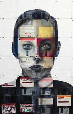 Mixed media / upcycled art - paint on floppy disks!