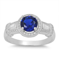 Sterling Silver Round Simulated Sapphire Halo Ring - Size 6