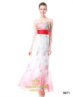 Light Pink Floral Dress,Long Floral Prom Dresses