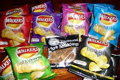 Walkers crisps, particularly prawn cocktail.