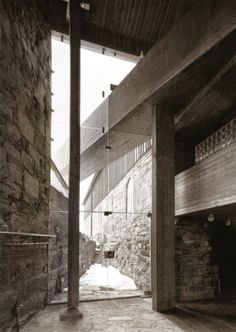 Sverre Fehn - Hedmark County Museum (renovation of a historic barn and medieval castle grounds), Hamar 1978. Own scan from here.