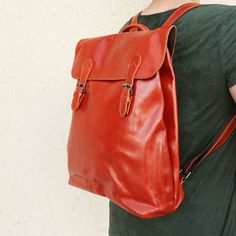 Vintage top grain leather backpack women minimalist by OrisDesigns