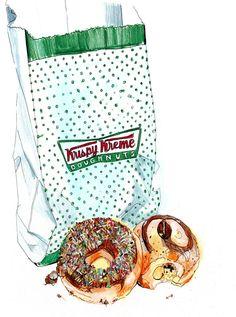 Vb, Krispie Kreme bag and 2 donuts, illustration