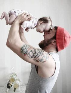 the beard, the baby, the hat, all of it! Father Daughter Tattoos, Father And Son, Maternity Photography, Family Photography, Inspiring Photography, Photography Ideas, Cute Kids, Cute Babies, Baby Shooting