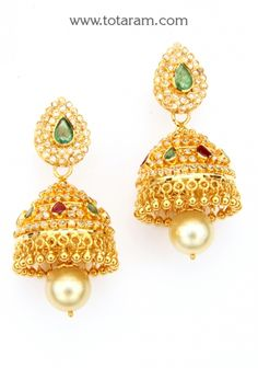 22K Gold Uncut Diamond Jhumkas With Ruby - Dangle Earrings: Totaram Jewelers: Buy Indian Gold jewelry & 18K Diamond jewelry