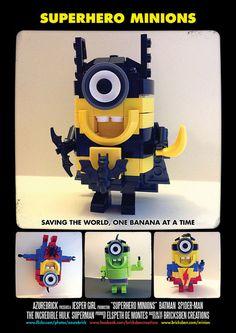 BricksBen - LEGO Despicable Me Superhero Minions - Batman Spiderman Hulk Superman - by Elspeth De Montes (azurebrick) - Movie Poster by Bric...