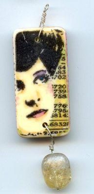 Altered Domino Jewelry Art Pendant with Beadwork - Mixed Media Art. $25.00, via Etsy.