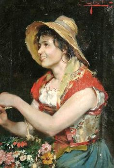 The Flower Seller by 19th century Italian Painter E. Giachi