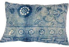 One Kings Lane - Style Guide: Aerin Lauder - Batik Floral Pillow Bed Throws, Throw Pillows, Chinese Fabric, Batik Pattern, Home Carpet, Mood Indigo, Batik Prints, Bed Wall, Global Design