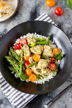 5 Ingredient Skillet Pesto Chicken + Asparagus | Simple Healthy Kitchen