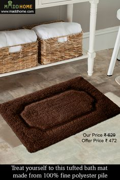 Treat yourself to this tufted #bath #mat made from 100% fine polyester pile.  Visit More at www.maddhome.com