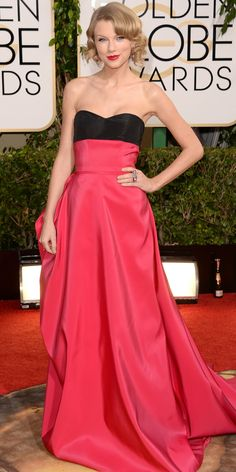 Taylor Swift was glamorous and girly in Carolina Herrera at the Golden Globes