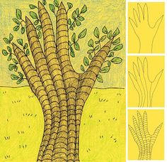 Draw a Hand Tree  - Great activity for art therapy as a form of stress management!