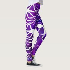 Amy's Octopus White On Purple - Leggings - yoga health design namaste mind body spirit