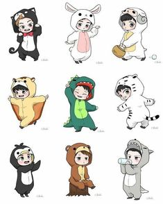 Exo, fanart, and kpop image Kpop Exo, Exo Xiumin, Exo Ot12, Chibi Exo, Anime Chibi, Anime Art, Kpop Anime, Anime Guys, Exo Cartoon