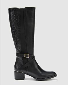 0e2ed5416 Botas de tacones de mujer de piel negro Cute Boots