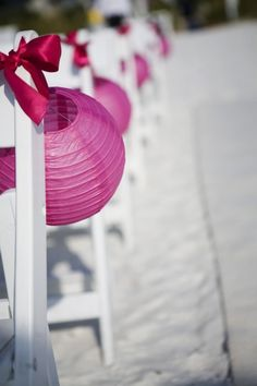 Fuchsia  Wedding ... Fuchsia Lanterns at Ceremony. Photography by Limelight Photography. Wedding Planned & Styled by Jet Set Wed.
